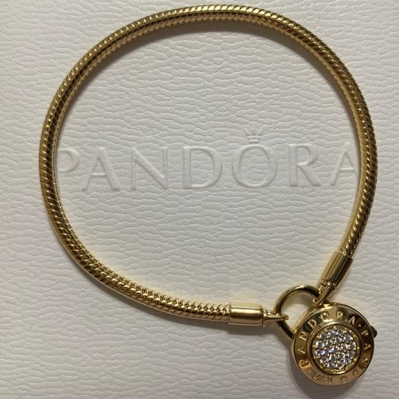 Pandora Pavé Padlock Clasp Snake Chain Bracelet